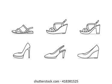 Set of different types of footwear. Six icons kinds of shoes . Outline black and white signs. Vector illustration of woman summer and classic shoes
