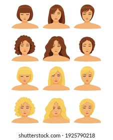 a set of different types of hair (curly, straight), different hair lengths and different hair colors for girls. icons isolated. 6 different haircuts and hairstyles. blondes and brunettes. vector flat