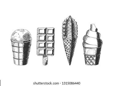 Set of different types of ice cream. .  Vector hand drawn illustration in vintage engraved style. Isolated on white background.