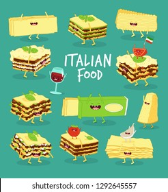 Set of different types of lasagne with Italian food. Vector illustration. You can use for cards, fridge magnets, stickers, posters or restaurant menu.