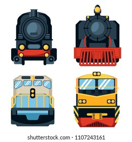 set of different types of locomotives isolated on white background. front view. Vector illustration