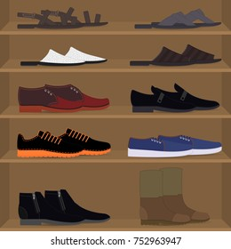 Set different types of mens pair shoes and boots on the shelves. Men's couples of shoes on the rack of the store. Collection various model fashion casual footwear for man. Vector flat illustration.
