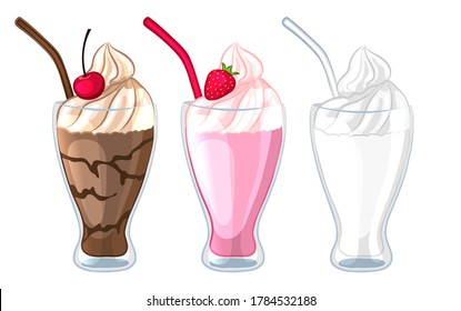 Set of different types of milkshakes. Milk, chocolate, strawberry cocktail. Isolated on a white background. Cartoon style. Vector illustration.
