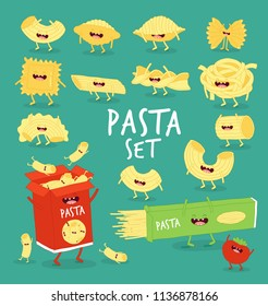 Set of different types of pasta. Vector illustration. You can use for cards, fridge magnets, stickers, posters or restaurant menu.