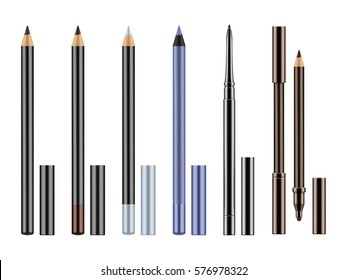 Set of different types realistic eyeliners. Black, silver, brown and blue pencils for eyes with caps. Cosmetic product for makeup and beauty eyes. Vector illustration isolated on white background.