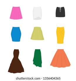 Set of different types of skirts. A-line, tube, mini, pencil, circle, draped, mermaid, asymmetrical and box pleated
