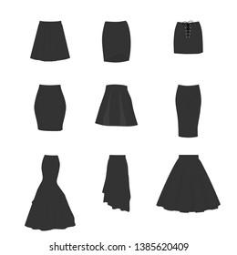 dc5d5f862e A-line, tube, mini, pencil. beauty fashion girls, stylish fashionable  beautiful women. Black skirt isolated on white background