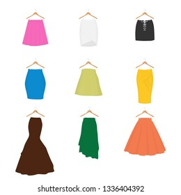 Set of different types of skirts on hangers. A-line, tube, mini, pencil, circle, draped, mermaid, asymmetrical and box pleated