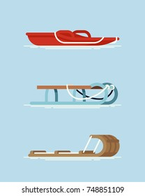 Set of different types of snow sleds. Cool vector flat design on winter season recreational gear. Modern plastic, metal frame and wooden snow sleighs