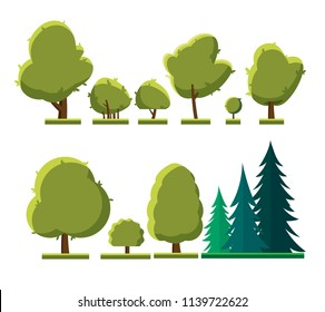 Set of different types of trees. Set of trees and shrubs isolated on white background. Deciduous and coniferous trees and bushes in the summer. Flat style and design. Vector illustration Eps10 file