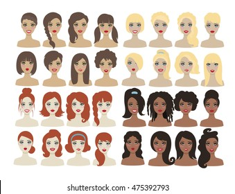 Set of different types woman hair style