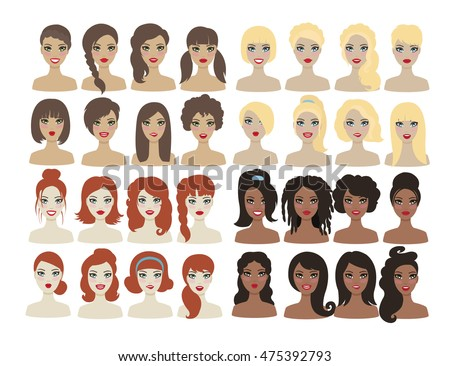 different kind of hair style set different types hair style stock vektorgrafik 7130 | set different types woman hair 450w 475392793
