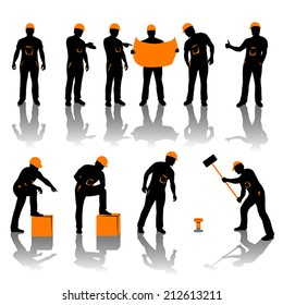 set of different types of workers. all in black and oranfe color