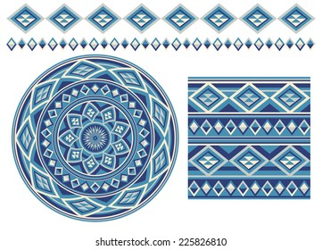 Set of different using same most popular seamless texture. Round pattern, square pattern and borders in blue  colors , isolated on white background. Vector illustration.