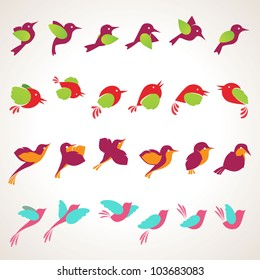 Set of different vector birds icons