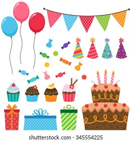 Set of different vector birthday party elements