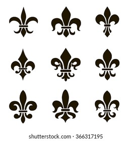 Set of different vector black fleur de lis symbols and graphics on a white background