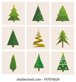 Set of different, vector christmas tree.  Can be used for greeting card, invitation, banner, web design.