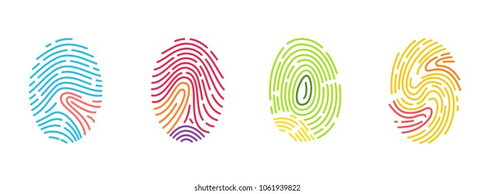 Set of different vector fingerprint isolated on white background. Abstract geometric identification authorization symbol.