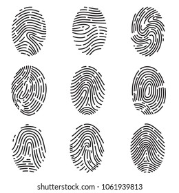 Set of different vector outline fingerprint isolated on white background. Abstract geometric identification authorization symbol.
