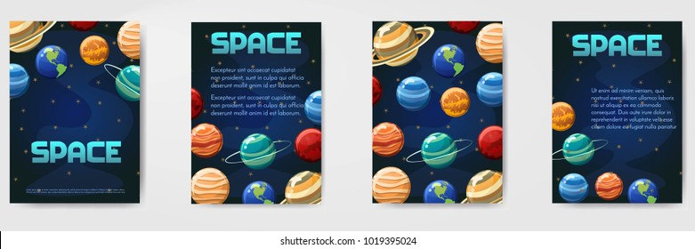 Set of different vector space,universe with planets template for flyer, magazine, poster,cover, banner,greeting card,invitation.