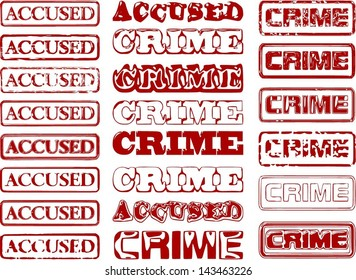 Set of different vectorized stamps with words ACCUSED and CRIME.