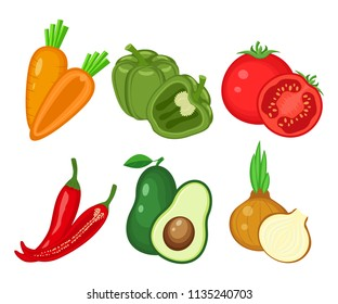 Set of different vegetables .Carrot, bell pepper, tomato, chili, avocado, onion  vector illustration isolated on white background