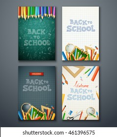 Set of different vertical banners with supplies and back to school text. eps10 vector illustration