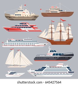 Set of different vessels. Sea boats and other big ships. Vector in flat style. Ship and boat, cruise yacht illustration