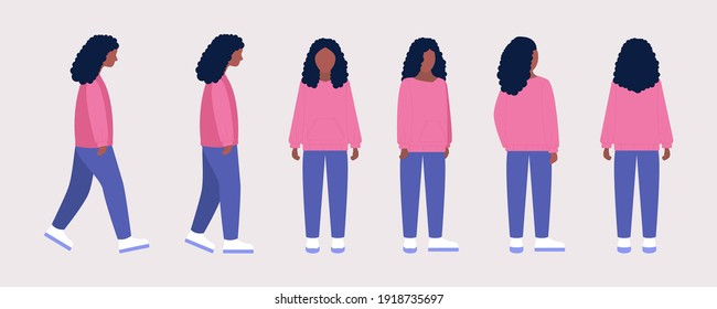 Set of different views of a young woman. Front, side, back. Vector illustration in a flat style