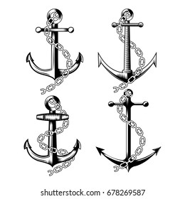 Set of different vintage anchors with chain on white background . Vector illustration.