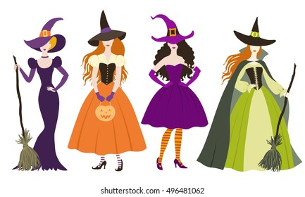 Set of different  vintage halloween witch costume in flat style, color vector illustration.