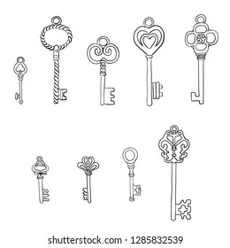 Set of different vintage keys with intricate forging, hand drawn doodle vector illustration isolated on white background, line art style sketch for design pattern, greeting card, scrapbook, old thing