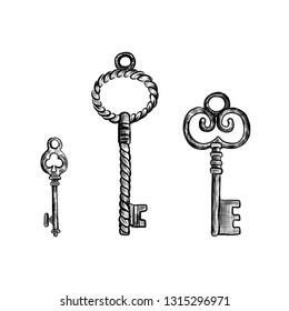 Set of different vintage keys with intricate forging, hand drawn sketch vector illustration isolated on white background, decorative retro style for design pattern, greeting card, scrapbook old thing