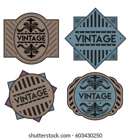 Set of different vintage labels, Vector illustration