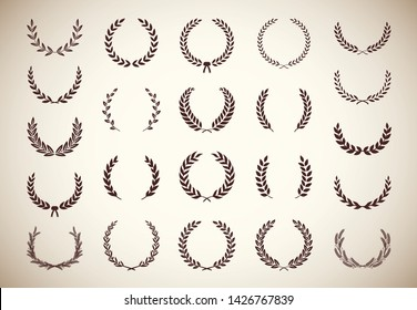 Set of different vintage silhouette circular laurel foliate, olive and wheat wreaths depicting an award, achievement, heraldry, nobility. Vector illustration.