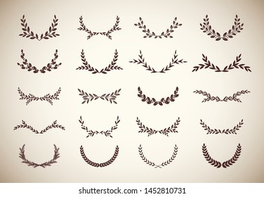 Set of different vintage silhouette round laurel foliate, olive and oak wreaths depicting an award, achievement, heraldry, nobility. Vector illustration.