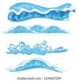 Set of different wave design illustration
