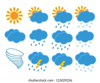 Set of different weather icons. Vector illustration