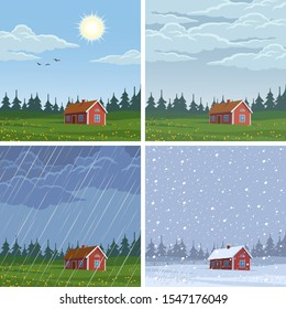 Set of different weather landscapes: sunny, cloudy, rainy and snowy.