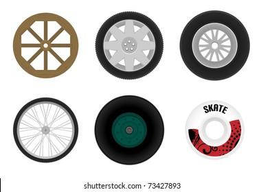 Set of different wheels. Vector illustration.