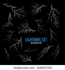 Set of different white cracks isolated on dark background. Set of simple lightning bolts. Vector illustration for your graphic design.