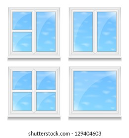 Set of different windows with blue sky, vector eps10 illustration