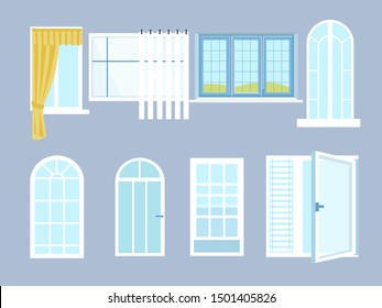 Set different windows with glasses. In minimalist style. Cartoon flat vector illustration