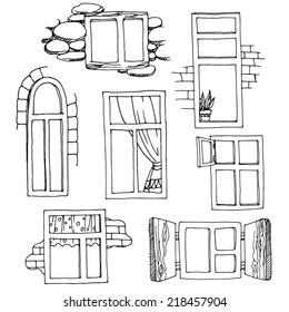 Set of different windows. Hand-drawn design elements. Vector illustration of different types of windows.