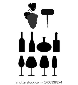 Set of different wine bottles, corkscrew, bunch of grapes and wine glasses silhouettes. Vector illustration.