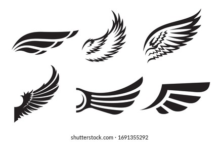 Set of different wings vector illustration. Simple logo or sign design elements.