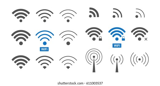 Set of  different wireless and wifi icons and logos for design. Vector Illustration.