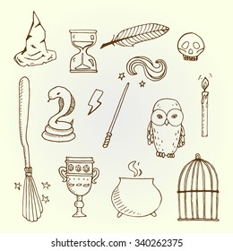 Set of different witch equipment. Vector illustration