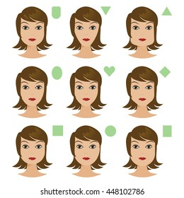 Set of different woman's face shapes vector flat icons templates